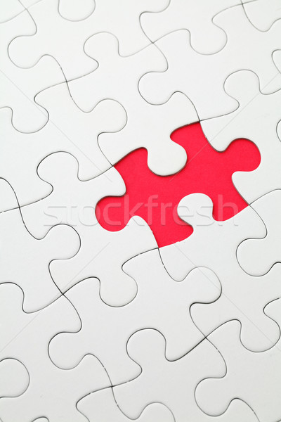 Manquant puzzle pièce rouge couleur blanche Photo stock © leungchopan