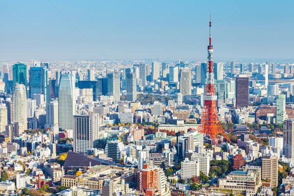 Tokio Japan business hemel wolken Blauw Stockfoto © leungchopan