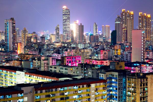 Hong Kong lleno de gente edificios noche cielo oficina Foto stock © leungchopan