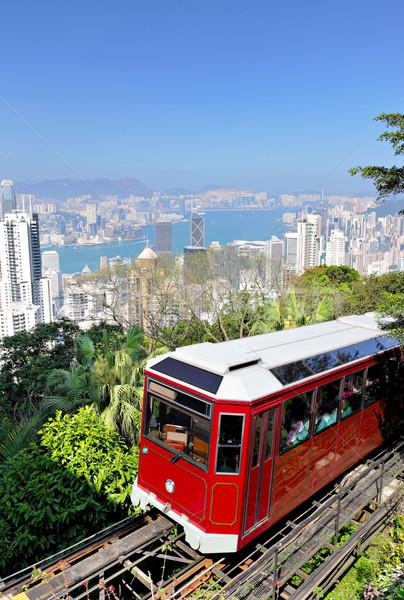 Foto d'archivio: Tram · Hong · Kong · albero · costruzione · città