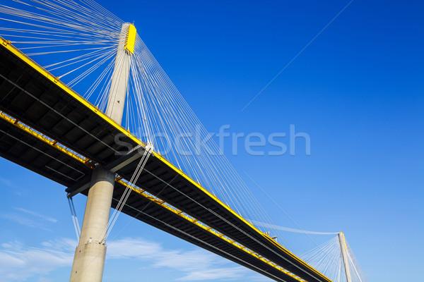 висячий мост Гонконг воды улице морем горные Сток-фото © leungchopan