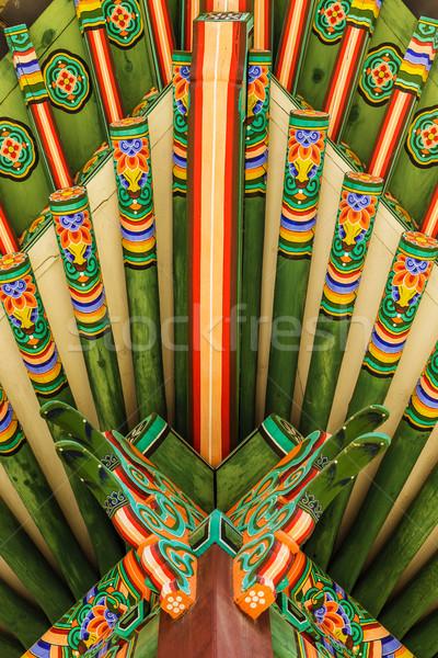 Hagyományos festmény fából készült épületek ház terv Stock fotó © leungchopan