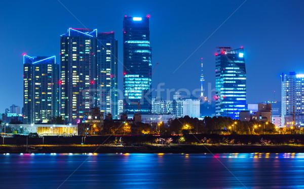 Edifício Seul noite da cidade negócio casa urbano Foto stock © leungchopan