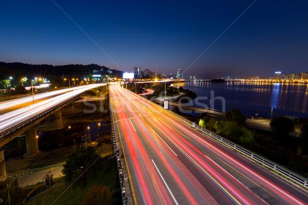Busy traffic in Seoul city Stock photo © leungchopan