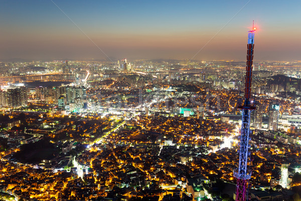 Seul cidade edifício montanha aço asiático Foto stock © leungchopan