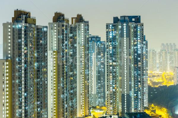 Hong Kong residential at night Stock photo © leungchopan