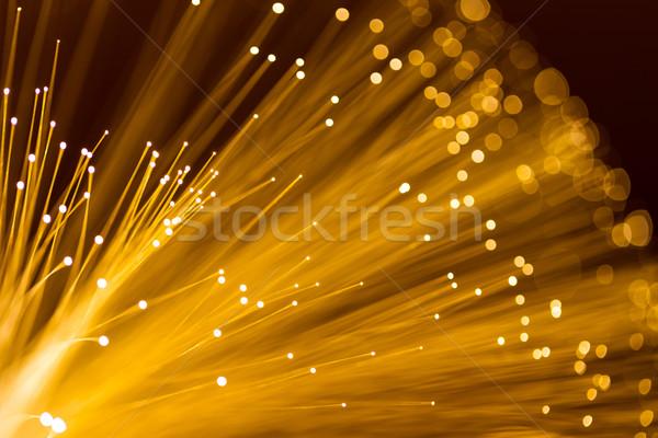 Amarillo fibra óptica cable textura tecnología Foto stock © leungchopan