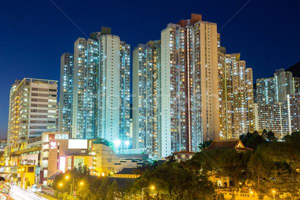 Társasház Hongkong épület fény városi építészet Stock fotó © leungchopan