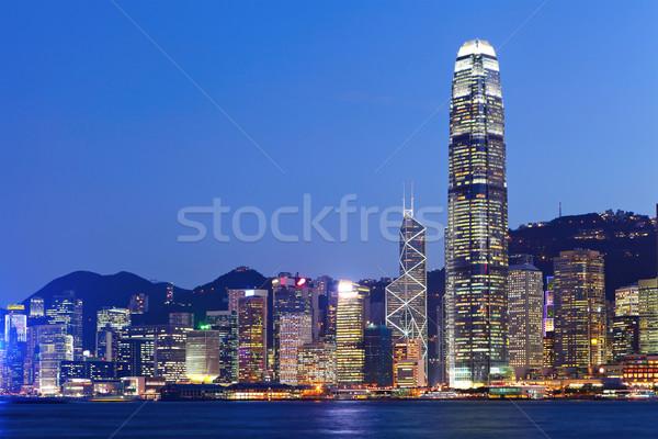 Hong Kong skyline nacht business kantoor gebouw Stockfoto © leungchopan