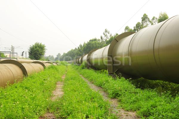 パイプライン 青 工場 油 産業 エネルギー ストックフォト © leungchopan