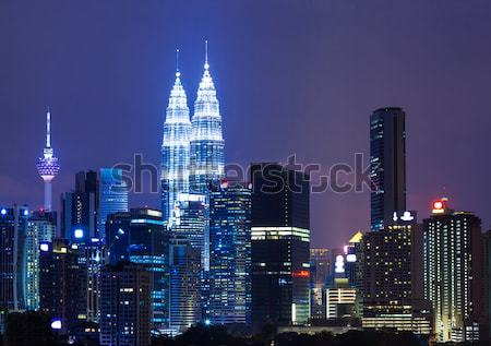 Kuala Lumpur ufuk çizgisi gece iş gökyüzü Bina Stok fotoğraf © leungchopan