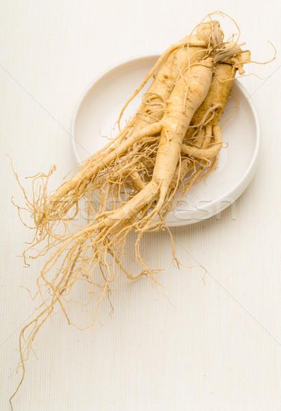 Сток-фото: женьшень · пластина · продовольствие · фон · медицина · китайский