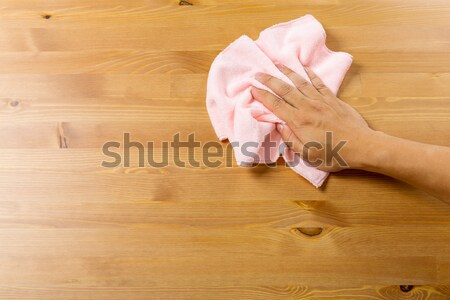 Cleaning table by pink rag Stock photo © leungchopan