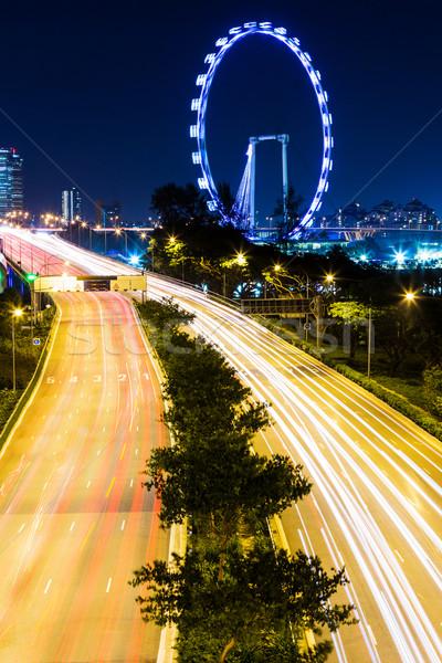 Singapore Night City cielo città luce traffico Foto d'archivio © leungchopan