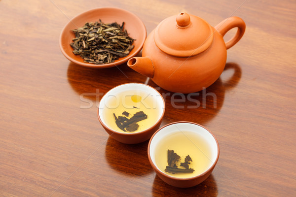 Chinese dried tea leave and drink Stock photo © leungchopan