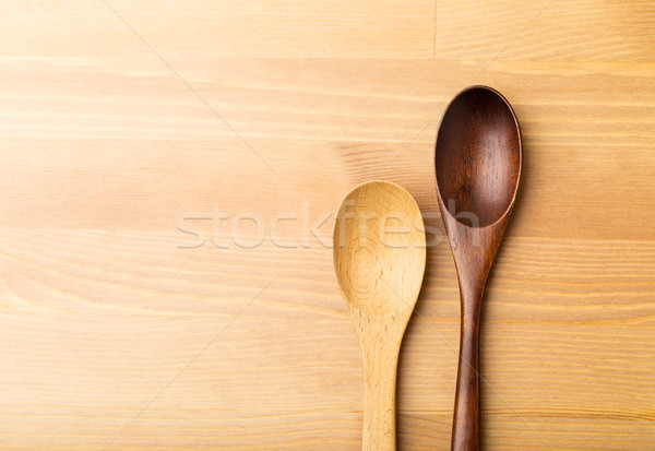 Houten theelepeltje tabel keuken bamboe vintage Stockfoto © leungchopan