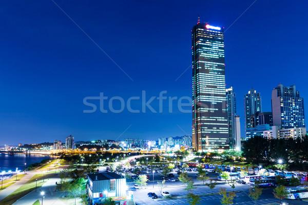Seul cidade água estrada urbano noite Foto stock © leungchopan