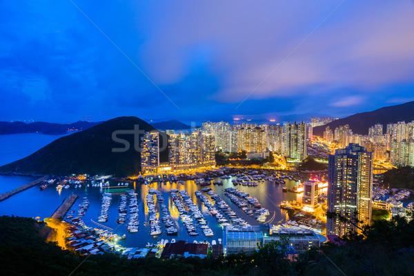 Abrigo Hong Kong pôr do sol céu árvore edifício Foto stock © leungchopan