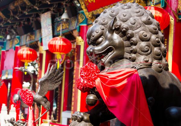 青銅 ライオン 建物 中国語 像 屋根 ストックフォト © leungchopan