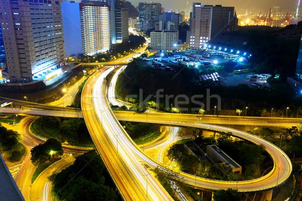 Photo stock: Autoroute · nuit · modernes · ville · pont · vitesse