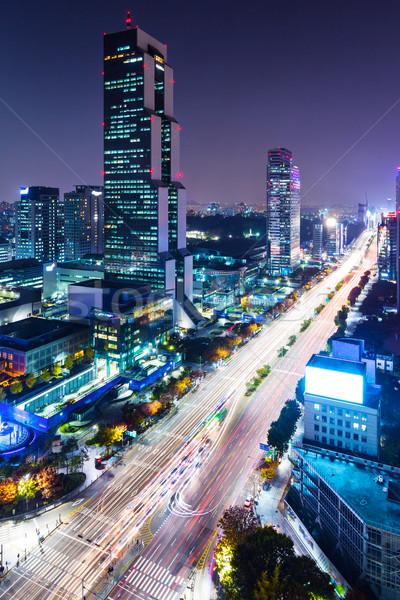 Distrito Seul edifício cidade paisagem corporativo Foto stock © leungchopan