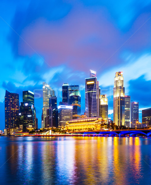 Urban cityscape in Singapore at night Stock photo © leungchopan