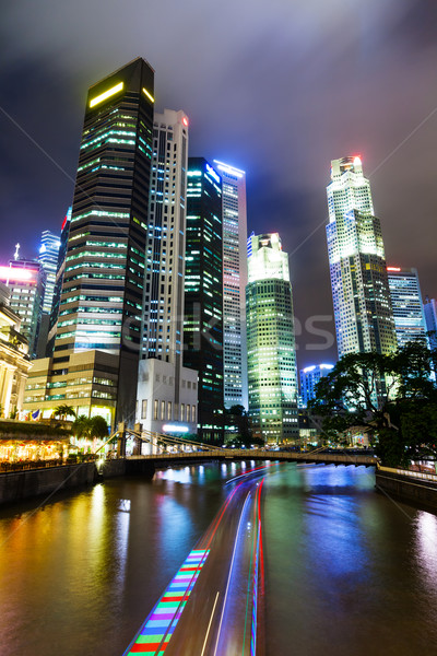 Stockfoto: Singapore · nacht · hemel · kantoor · water