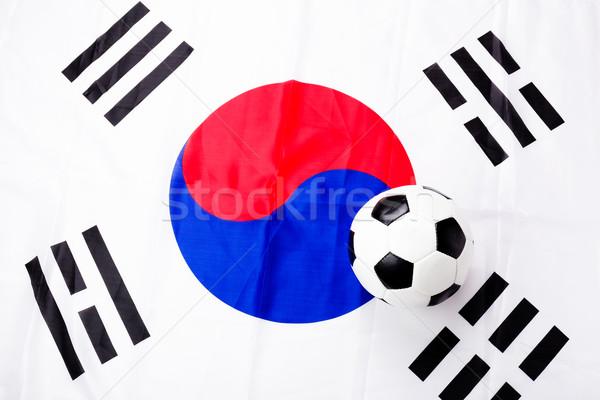 South Korean flag and soccer ball Stock photo © leungchopan