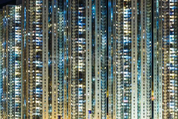 Megvilágított társasház sziluett Ázsia modern lakás Stock fotó © leungchopan