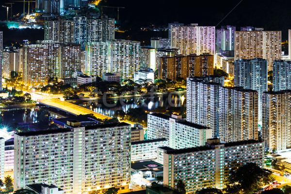 Stok fotoğraf: Kamu · konut · Hong · Kong · gece · ufuk · çizgisi · Cityscape