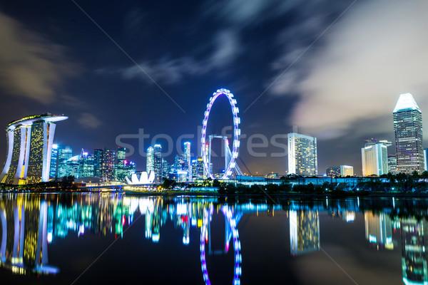 Stok fotoğraf: Singapur · gece · ofis · su · Bina