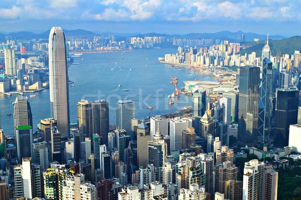 Hongkong üzlet égbolt víz épület tájkép Stock fotó © leungchopan