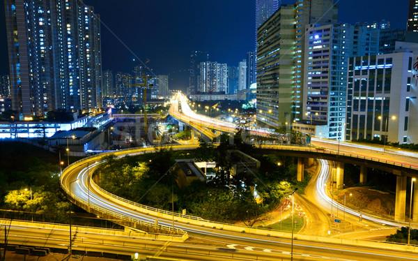 Highway in city at night Stock photo © leungchopan