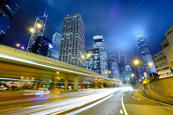night traffic light trail and city Stock photo © leungchopan