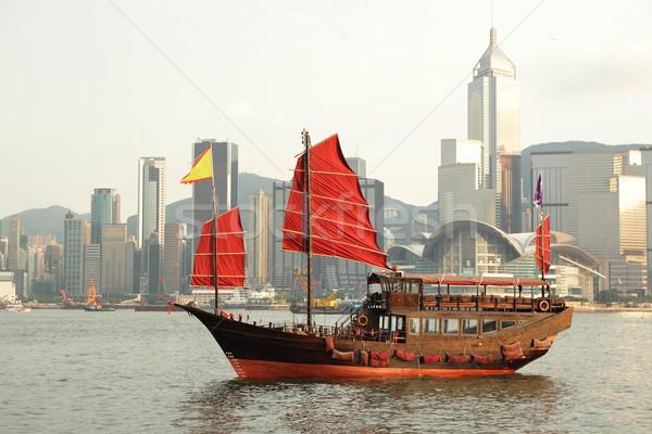 Foto stock: Velero · vela · Hong · Kong · puerto · cielo · agua