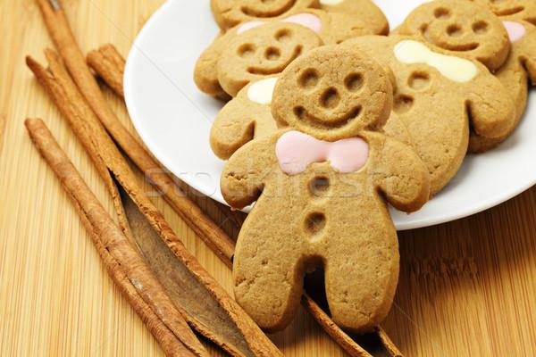 Gingerbread man gıda Noel kurabiye Stok fotoğraf © leungchopan