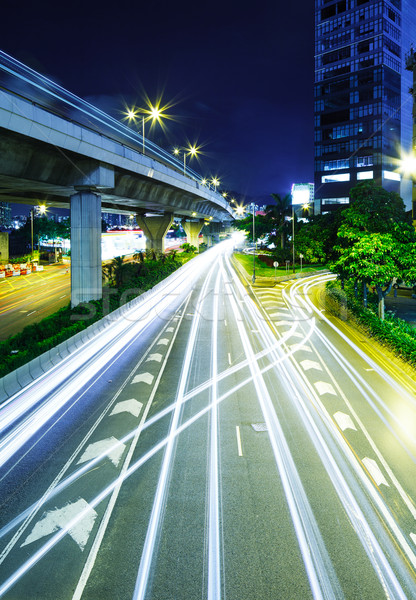 Highway with traffic trail Stock photo © leungchopan