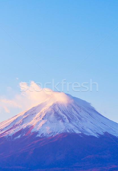 Fuji rano śniegu górskich Świt jesienią Zdjęcia stock © leungchopan