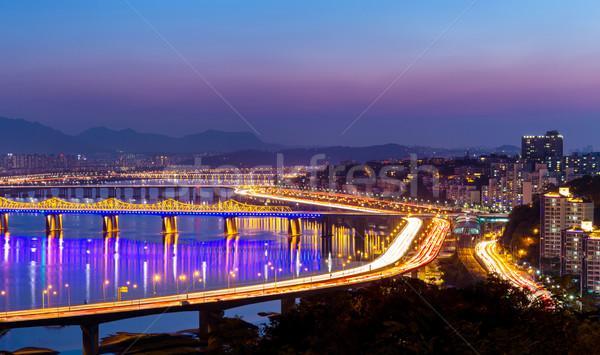 Seoul skyline at night Stock photo © leungchopan