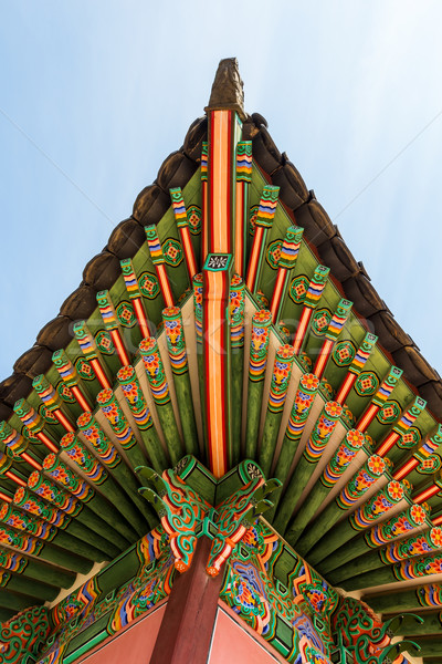 Traditional korean architecture roof eaves Stock photo © leungchopan