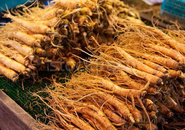 Ginseng raiz vara comida medicina mercado Foto stock © leungchopan
