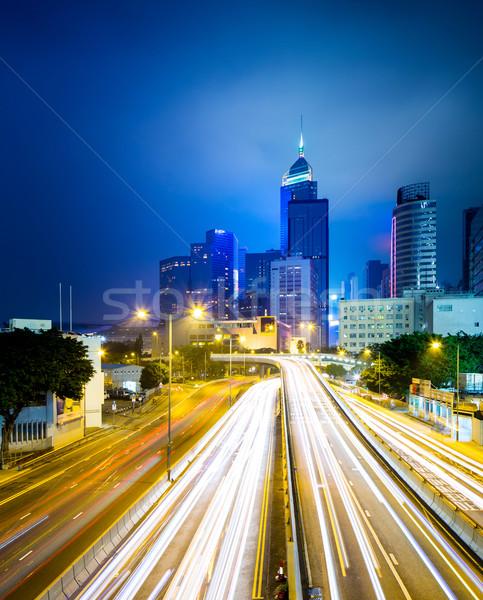 Car light trail in Hong Kong Stock photo © leungchopan