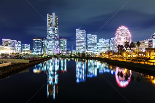 Иокогама Skyline бизнеса здании ночь красный Сток-фото © leungchopan