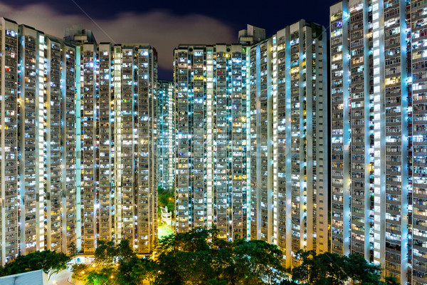 Compact life in Hong Kong at night Stock photo © leungchopan