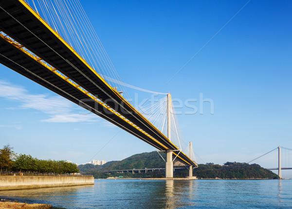 висячий мост Гонконг воды пейзаж улице морем Сток-фото © leungchopan