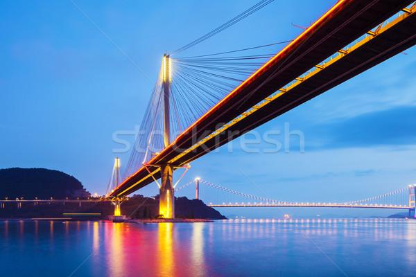 висячий мост Гонконг ночь воды пейзаж морем Сток-фото © leungchopan