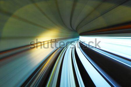 Vonat mozog alagút fény zöld kék Stock fotó © leungchopan