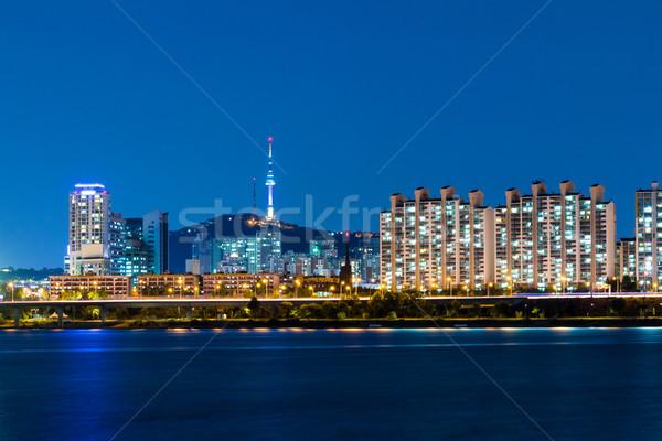 Seul cidade negócio montanha urbano rio Foto stock © leungchopan