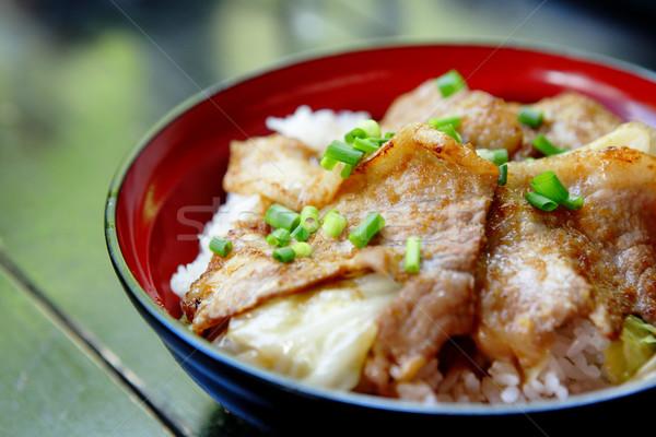 Varkensvlees rijst voedsel plaat varken asia Stockfoto © leungchopan