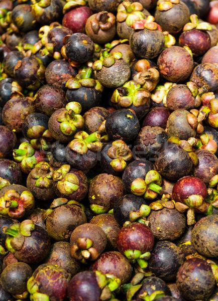 Мангостин фрукты рынке свежие Purple природного Сток-фото © leungchopan